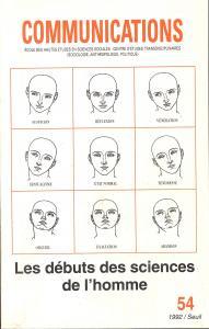 Couverture de l'ouvrage Communications, n° 54, Les Débuts des sciences de l'homme