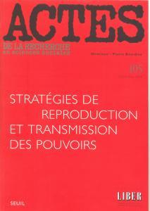Couverture de l'ouvrage Actes de la recherche en sciences sociales, n° 105